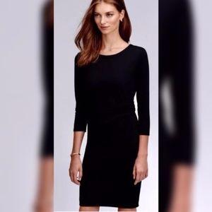 🏳️ THEORY Black Ruched Waist Stretch Sheath Dress